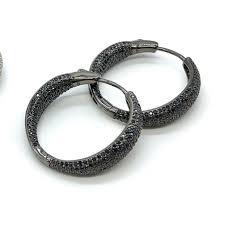 Купить <b>Серьги</b>-<b>кольца</b> из серебра в черном родии с <b>черными</b> ...