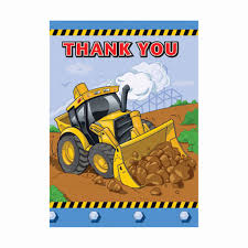 Construction Birthday Party Decorations Construction Party Thank You Note Cards Construction Birthday