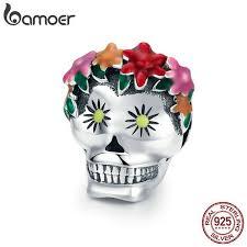 BAMOER Halloween <b>Collection 925 Sterling</b> Silver Flower Skull ...