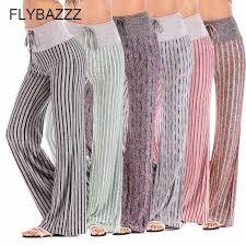 Women <b>Stripe</b> Print <b>Yoga</b> Pants Loose <b>Wide Leg</b> Full Pants High ...