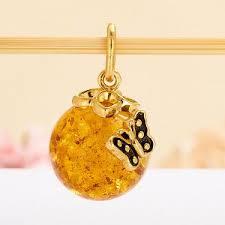 <b>Кулон янтарь пресс</b> Россия шар (серебро 925 пр., позолота ...