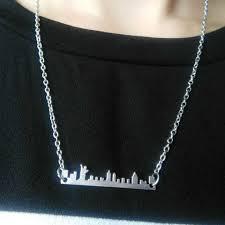 <b>my shape</b> Vintage New York Skyline Necklace <b>Stainless</b> Steel ...