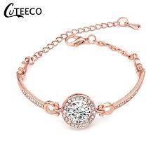 <b>Cuteeco</b> Fashion Rose Gold <b>Crystal</b> Chain <b>Bracelets</b> & <b>Bangles</b> For ...