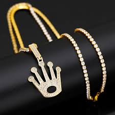 Wholesale <b>Hip Hop King Crown</b> Bail Drip Bubble Initial Chain ...