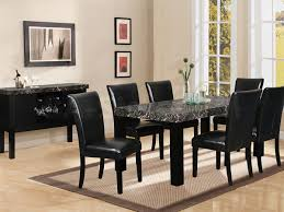 Stone Dining Room Table Best Idea With The Leather Dining Room Chairs Dining Room Black