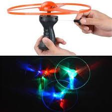 2020 Spinning Flyer <b>Luminous</b> Flying UFO LED Light <b>Handle</b> Flash ...