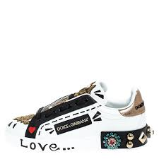 Dolce and Gabbana White/Black Leather Portofin Embellished Low ...