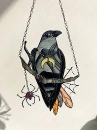 Mystical Crow Raven <b>Witch</b> Decor <b>Stain Glass</b> Panel Black   Etsy