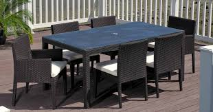 beautiful black white glass wood modern design home garden elegant patio furniture rectangular table chairs wicker black garden furniture