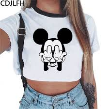 2019 Summer Crop Top <b>T Shirts</b> Women <b>Harajuku Kawaii</b> Mouse ...