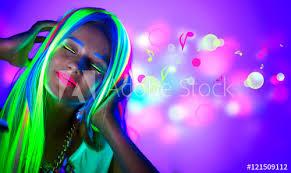 Beautiful <b>young woman</b> in neon <b>light</b>. Disco <b>girl</b> with <b>fluorescent</b> ...