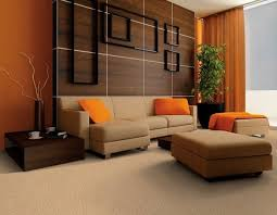 living room design ideas in brown and beige leather sofa orange cushions and curtains brown living room furniture ideas