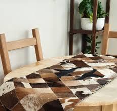 Cowhide table runner / <b>Genuine Leather</b> table runner / Table Top ...