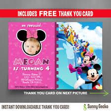 disney minnie mouse birthday invitation minnie mouse mickey mouse clubhouse 7x5 in birthday party invitation photo includes editable thank you card