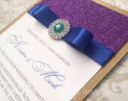 peacock wedding invitations etsy Purple Gold Wedding Invitations glitter and rhinestone peacock wedding invitation elegant wedding purple gold teal royal blue cheap purple and gold wedding invitations