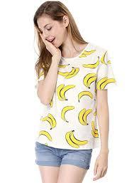 Allegra K Women's Short-Sleeve Banana Printing ... - Amazon.com