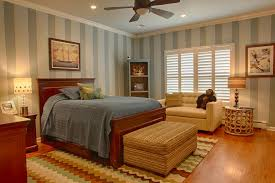 bathroom inspiration bedroom well liked gray striped wallpaper and ceiling fan over woodn bedframe plus ottoman also sofa bedroom decors in vintage bedroom decor ceiling fan