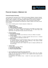 financial statement analysis of mphasis
