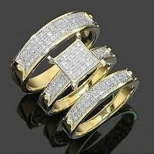 <b>3Pcs</b>/<b>Set NEW</b> Jewelry Yellow Gold Filled Heart White Sapphire ...