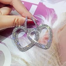 <b>New design creative jewelry</b> high grade elegant crystal earrings love ...