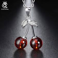 <b>ORSA JEWELS</b> 925 Sterling Silver Red <b>Stone</b> Cherry Pendant ...