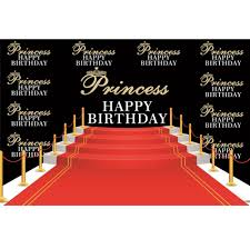 <b>Laeacco Princess</b> Prince Happy Birthday Red Stair Carpet Baby ...