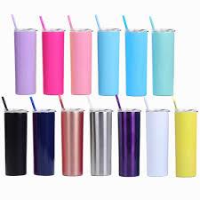 <b>20oz</b> skinny tumbler stainless steel <b>Straight</b> cup with rainbow straw ...