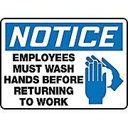 Accuform Signs 7u0026quot X 10u0026quot Vinyl Housekeeping Sign U0026quotNOTICE EMPLOYEES MUST WASH  D
