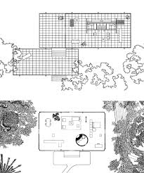 ArchiTakes   The Farnsworth House  part   from the hearth to the    Floor plans show Mies van der Rohe    s Farnsworth House  top  and Philip Johnson    s Glass House  in scale   each other  The enclosed portion of the