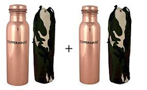 Coppermints Copper's <b>Pure Copper</b> Water Bottle (950 ml) (<b>2 pcs</b> ...