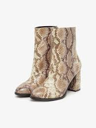 <b>Snake Print Ankle</b> Boots | BROWN