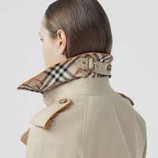 Piped Cotton Gabardine <b>Trench Coat</b> in Honey - <b>Women</b> | Burberry