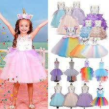 Girls Kids <b>Tutu Skirt</b> Dress <b>Rainbow Unicorn</b> Pageant Party ...