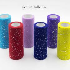 Glitter Tulle Roll <b>15cm 10Yards</b> Sparkly Glitter Sequin Tulle Organza ...