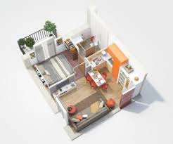 Studio Apartment Floor Plans Bedroom Apartment House Plans  middot  This small one bedroom has a colorful kitchen and tiny balcony  making it perfect for