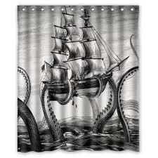 Custom <b>Waterproof</b> Fabric <b>Bathroom Shower</b> Curtain Attack Octopus ...