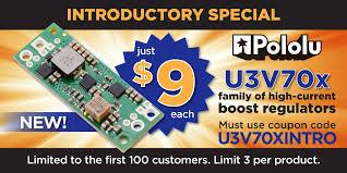 New products: U3V70x high-current boost voltage regulators - Pololu