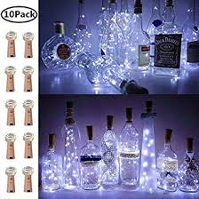 Wine Bottle <b>Lights</b> with Cork, 10 Pack Battery Operated LED Cork ...