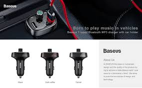 <b>BASEUS S 09</b> T Typed 3.4A Dual USB Ports Bluetooth MP3 Car ...