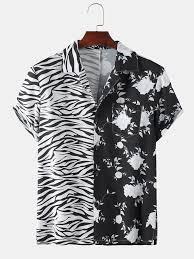 Mens Patchwork <b>Zebra Floral</b> Printed Short Sleeve Shirt in 2020 ...