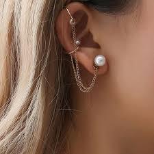 <b>2018 New Fashion</b> Tassel Chain Imitation Pearl Earrings For ...