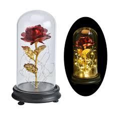 DecBest <b>Gold Foil</b> Decoration Flowers Red Golden Eternal Rose ...