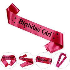 Buy WOBBOX <b>Fashionable</b> Rose Pink Satin Sash Birthday Girl with ...