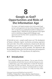 google as god opportunities and risks of the information age inside