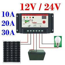 <b>30A 20A 10A 12V</b>-<b>24V</b> PWM solar panel regulator charge controller ...