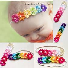 Baby <b>headbands</b> Kids Infant colorful fabric <b>flowers</b> pearl Hair ...