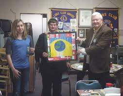 Lions Brad Baker and Robert Bahn [l-r] are hold her poster as Madison talks about her art. Valley View Jr. High School 7th grader Kayla Starling with her ... - kaylastarlingvv