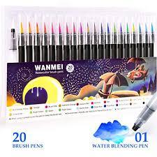 20 colors watercolor pens painting markers pen premium soft brush set coloring books manga comic calligraphy art