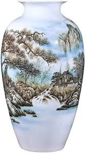 Hand Painted <b>Ceramic Vase</b>, <b>Chinese Style</b> Flower Arrangement ...