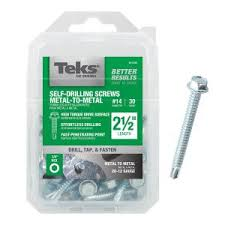 Teks #14 2-1/2 in. <b>External Hex</b> Flange <b>Hex</b>-Head <b>Self</b>-<b>Drilling</b> Screws